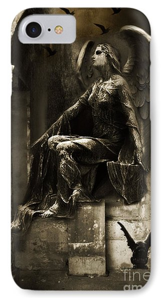 Surreal Paris Gothic Angel Gargoyle Ravens Fantasy Art IPhone Case