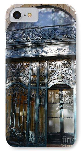 Paris Guerlain Storefront Boutique - Paris Guerlain Blue Door Art Nouveau Art Deco Door IPhone Case by Kathy Fornal