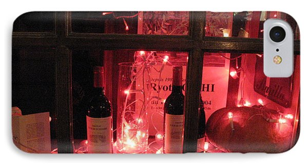 Paris Holiday Christmas Wine Window Display - Paris Red Holiday Wine Bottles Window Display  IPhone Case by Kathy Fornal