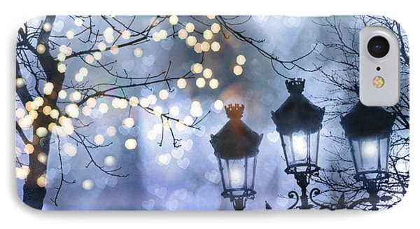 Paris Holiday Magical Sparkling Twinkling Lights - Paris Sparkling Street Lanterns IPhone Case by Kathy Fornal