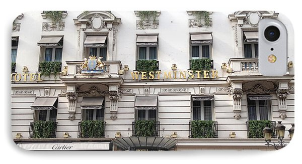 Paris Hotel Westminister Windows And Balconies - Paris Hotel Architecture And Cartier Shop IPhone Case by Kathy Fornal