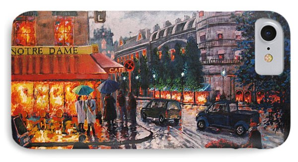 IPhone Case featuring the painting Paris In The Rain by Cheryl Del Toro