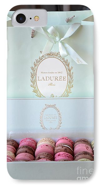 Paris Laduree Macarons - Dreamy Laduree Box Of French Macarons With Laduree Bag  IPhone Case by Kathy Fornal