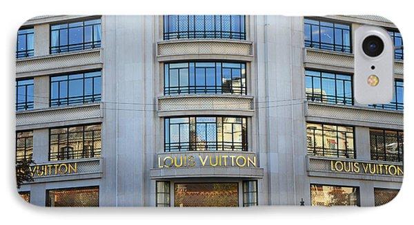 Paris Louis Vuitton Fashion Boutique - Louis Vuitton Designer Storefront In Paris IPhone Case by Kathy Fornal