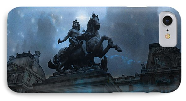 Paris Louvre Museum Blue Starry Night - King Louis Xiv Monument At Louvre Museum IPhone Case by Kathy Fornal