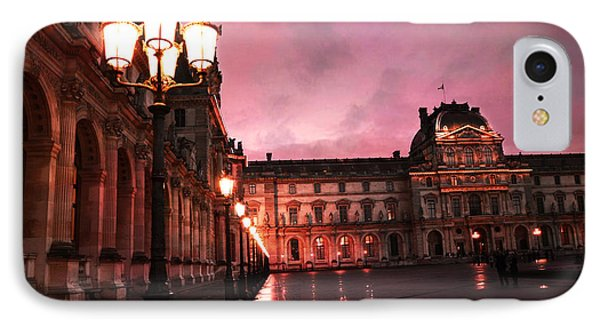Paris Louvre Museum Night Architecture Street Lamps - Paris Louvre Museum Lanterns Night Lights IPhone 7 Case by Kathy Fornal