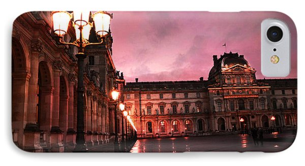 Paris Louvre Museum Night Architecture Street Lamps - Paris Louvre Museum Lanterns Night Lights IPhone Case by Kathy Fornal