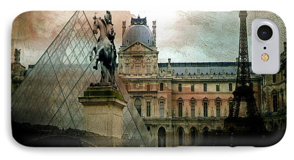 Paris Louvre Museum Pyramid Architecture - Eiffel Tower Photo Montage Of Paris Landmarks IPhone 7 Case by Kathy Fornal