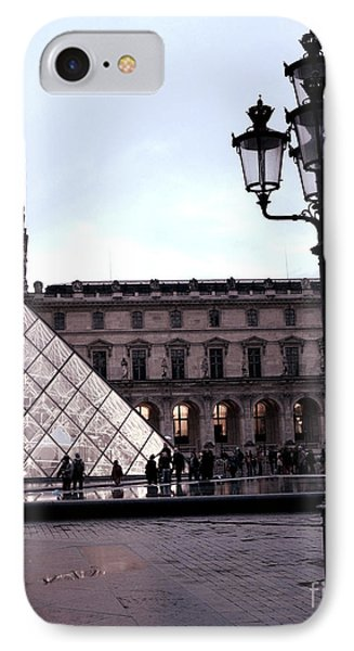 Paris Louvre Museum Pyramid - Paris At Dusk Evening - Paris Street Lamps Lanterns At Louvre IPhone Case