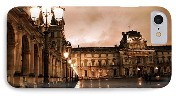 Paris Louvre Museum Sepia Night Lights Street Lamps - Paris Sepia Louvre Museum Night Photography IPhone Case by Kathy Fornal