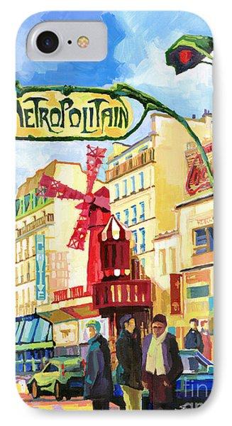 Paris Metropolitain Blanche Moulin Rouge  Phone Case by Yuriy  Shevchuk