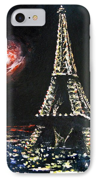 IPhone Case featuring the painting Paris Night by Cheryl Del Toro