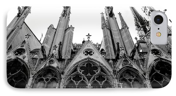 Paris Notre Dame Cathedral Gothic Black And White Gargoyles And Architecture IPhone Case by Kathy Fornal