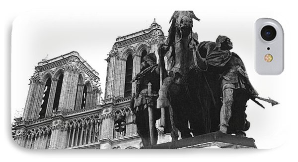 Paris Notre Dame Cathedral Monument - Charlemagne Horses Statue At Notre Dame Cathedral  IPhone Case by Kathy Fornal
