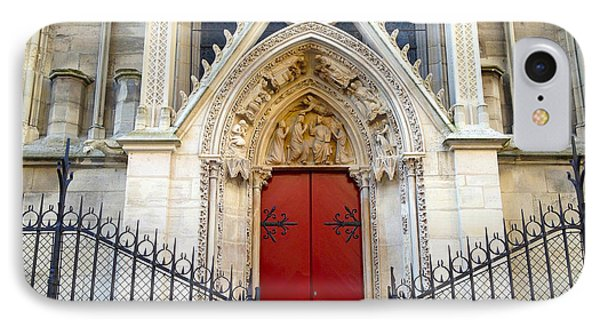 Paris Notre Dame Cathedral Red Ornate Door - Notre Dame Cathedral Door Window Gate Architecture IPhone Case by Kathy Fornal