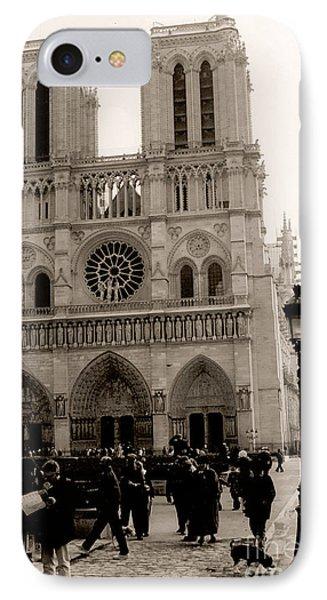 Paris Notre Dame Cathedral Sepia - Paris Vintage Sepia Notre Dame Cathedral Street Photography IPhone Case by Kathy Fornal