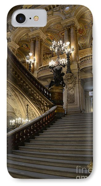 Paris Opera Garnier Grand Staircase - Paris Opera House Architecture Grand Staircase Fine Art IPhone Case by Kathy Fornal