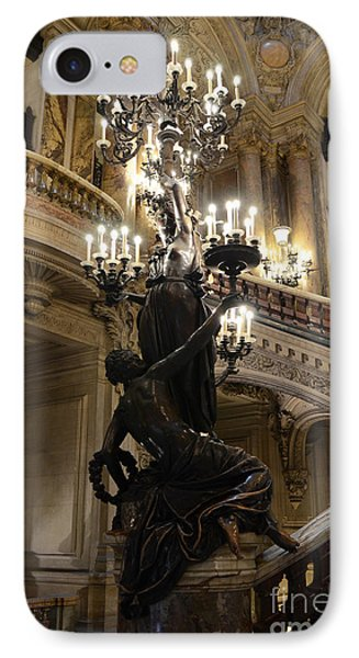 Paris Opera House Grand Staircase And Chandeliers - Paris Opera Garnier Statues And Architecture  IPhone Case