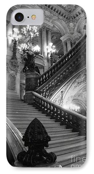 Paris Opera House Grand Staircase Black And White Art Nouveau - Paris Opera Des Garnier Staircase IPhone Case by Kathy Fornal