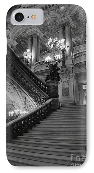 Paris Opera House Grand Staircase Black And White Art - Paris Black And White Opera House Staircase IPhone Case