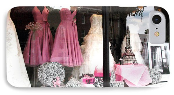 Paris Pink White Bridal Dress Shop Window Paris Decor IPhone Case by Kathy Fornal