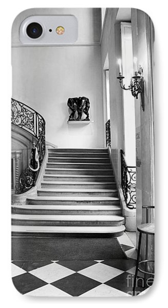 Paris Rodin Museum Black And White Fine Art Architecture - Rodin Museum Entry Staircase IPhone Case
