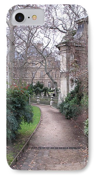 Paris Romantic Parks - Luxembourg Gardens - Medici Fountain Park - Pathway To Luxembourg Gardens Phone Case by Kathy Fornal