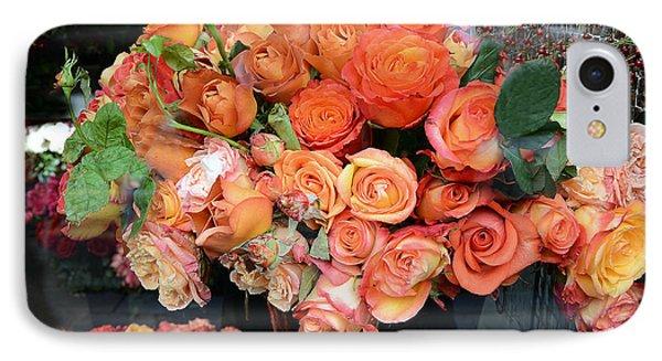 Paris Roses Autumn Fall Peach Orange Roses - Paris Roses Flower Market Shop Window IPhone Case by Kathy Fornal