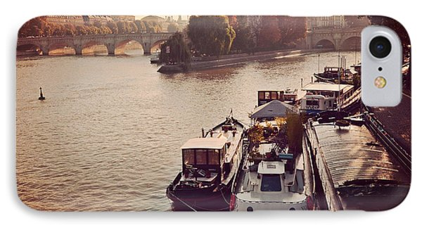 Paris Seine River Fall Autumn - Boats Along The Seine River IPhone Case by Kathy Fornal