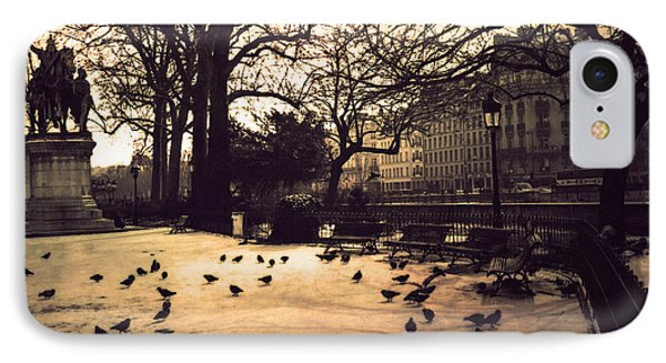 Paris Sepia Photography - Notre Dame Cathedral Courtyard Monuments Statues With Pigeons IPhone Case by Kathy Fornal
