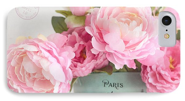 Paris Peonies Shabby Chic Dreamy Pink Peonies Romantic Cottage Chic Paris Peonies Floral Art IPhone Case by Kathy Fornal