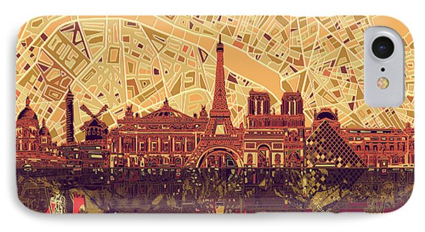 Paris Skyline Abstract Sepia IPhone Case by Bekim Art