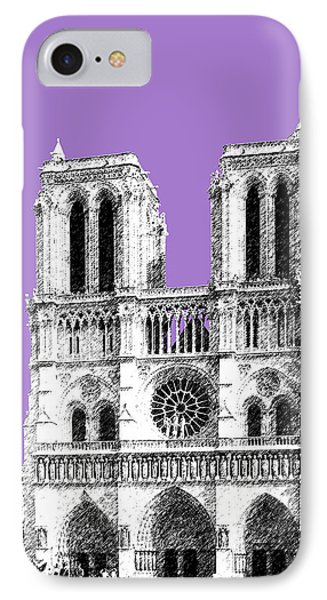 Paris Skyline Notre Dame Cathedral - Violet IPhone Case by DB Artist