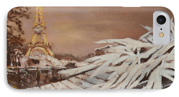 IPhone Case featuring the painting Paris Sous La Neige by Julie Todd-Cundiff