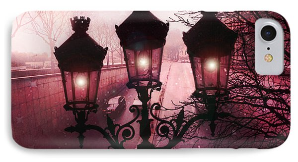 Paris Street Lamps Architecture - Paris Romantic Dark Rouge Rose Street Lamps Lights And Lanterns  IPhone Case