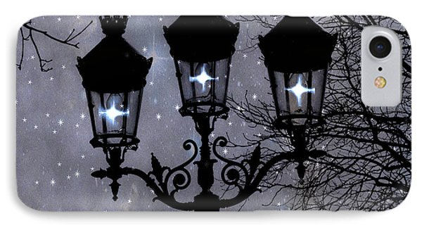 Paris Street Lights Lanterns - Paris Starry Night Dreamy Surreal Starlit Night Street Lamps Of Paris Phone Case by Kathy Fornal