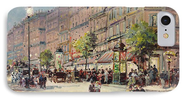 Paris Street Scene IPhone Case by Gustave Mascart
