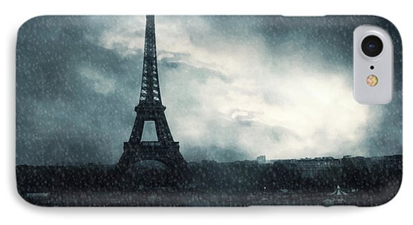 Paris Surreal Eiffel Tower Stormy Winter Snow Landscape - Eiffel Tower Winter Snow Ethereal Skies IPhone Case by Kathy Fornal