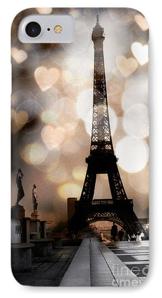 Paris Surreal Fantasy Sepia Black Eiffel Tower Bokeh Hearts And Circles - Paris Eiffel Tower Hearts  IPhone 7 Case