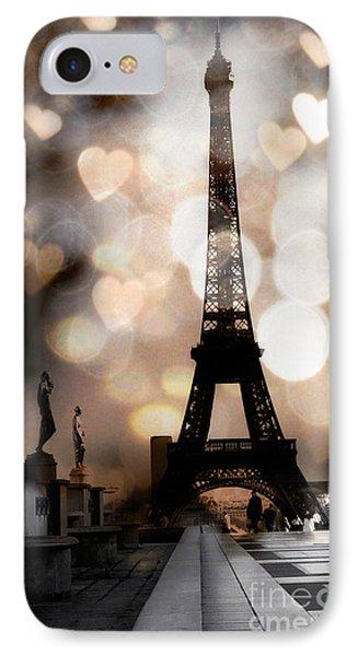 Paris Surreal Fantasy Sepia Black Eiffel Tower Bokeh Hearts And Circles - Paris Eiffel Tower Hearts  IPhone Case