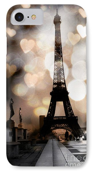 Paris Surreal Fantasy Sepia Black Eiffel Tower Bokeh Hearts And Circles - Paris Sepia Fantasy Nights IPhone Case by Kathy Fornal