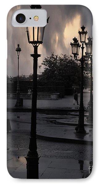 Paris Surreal Louvre Museum Street Lanterns Lamps - Paris Gothic Street Lamps Black Clouds IPhone Case by Kathy Fornal
