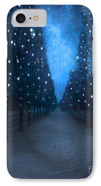 Paris Tuileries Trees - Blue Surreal Fantasy Sparkling Trees - Paris Tuileries Park IPhone Case