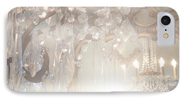 Paris Dreamy White Gold Ghostly Crystal Chandelier Mirrored Reflection - Paris Crystal Chandeliers IPhone Case by Kathy Fornal
