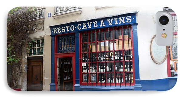 Paris Wine Shop Resto Cave A Vins - Paris Street Architecture Photography IPhone Case