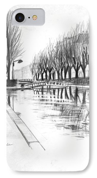 Paris Winter Canal IPhone Case by Mark Lunde