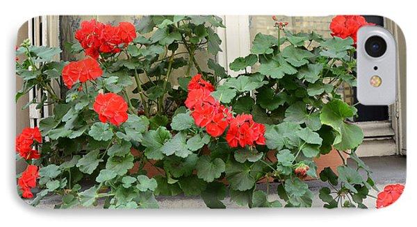 Paris Window Flower Box Geraniums - Paris Red Geraniums Window Flower Box IPhone Case by Kathy Fornal