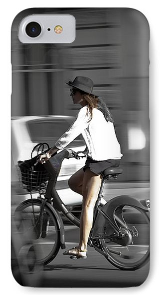 Parisian Girl Cyclist IPhone Case by Maj Seda