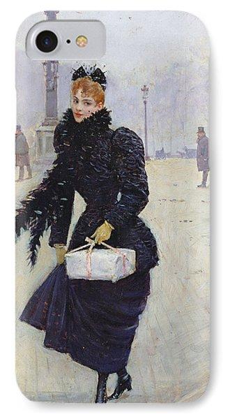 Parisian Woman In The Place De La Concorde, C.1890 Oil On Canvas IPhone Case by Jean Beraud