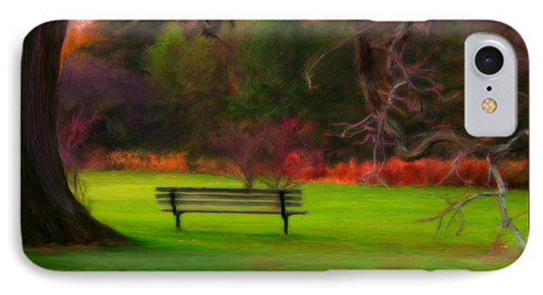 IPhone Case featuring the painting Park Bench by Bruce Nutting
